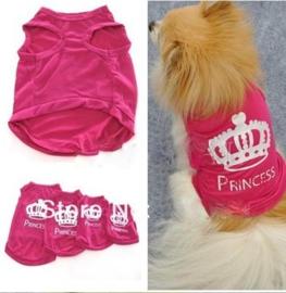 Hondenshirt Prinses Roze - Small - Ruglengte 20 cm - In Voorraad