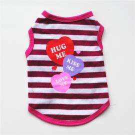Honden T shirt  Hug Me Roze  - Large -Ruglengte  30-34 cm - In Voorraad