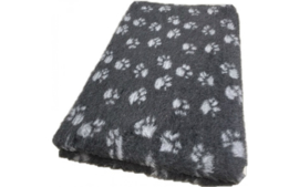 Vet Bed met voet print antracier grijs - Latex Anti-Slip