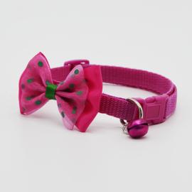 Puppy halsband strik - Nekomvang 22-32 cm -  Roze - In Voorraad