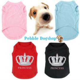Honden Shirt Princess Blauw - Ruglengte 35 cm -Large - In Voorraad