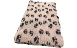 Vet Bed met voet print licht bruin - Latex Anti-Slip