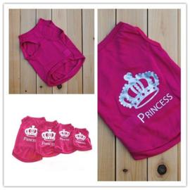 Hondenshirt Prinses Roze - Maat XS - Ruglengte 18 -20 cm - In Voorraad