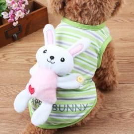 Hondenshirt Groen Bunny - Maat XS - Ruglengte 20 cm - In Voorraad