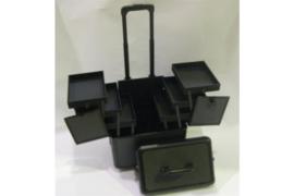 Trimkoffer zwart aluminium look, 24cmx37cmx46cm hoog