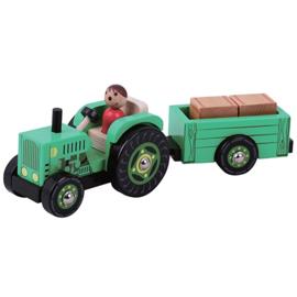 Tractor met Aanhanger met 2 Losse hooibalen