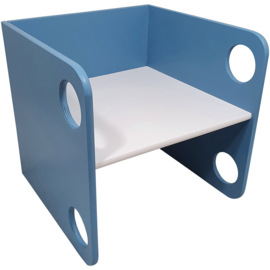Kubusstoel Blauw met Witte Zitting