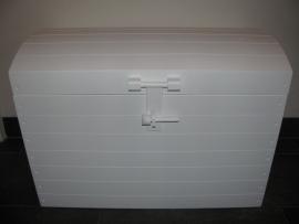 Speelgoedkist Schatkist Zijdeglans Wit met Bol Deksel Nr. 4