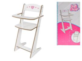 Poppen Kinderstoel met Roze Hartjes
