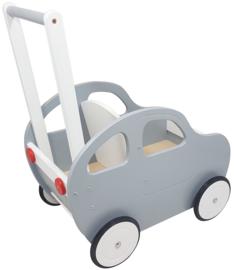 Duwwagen Auto Zilver - Wit