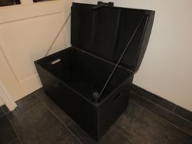 Houten Opbergkist - Speelgoedkist - Schatkist - Kist Zwart Zijdeglans Nr. 4 (XL)
