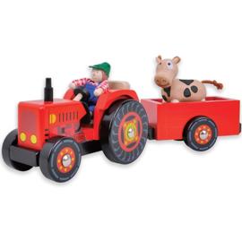 Tractor met Aanhanger met Boer en Koe
