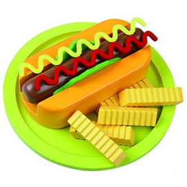 Hotdog Set met Patat op Bord 11-Delig