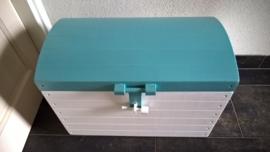 Houten Kist, Schatkist, Speelgoedkist Wit/Groen met Bol Deksel L nr. 3