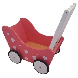 Poppenwagen Roze / Hartjes