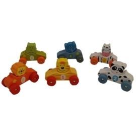 6 Kleine Auto's met Dierenfiguren