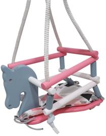 Schommel Paard met Kussentje Kleuren Grijs Roze Wit