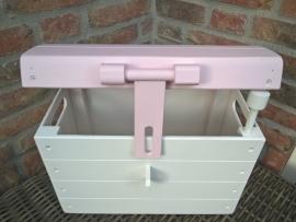 Houten Speelgoedkist, Schatkist, Geboortekist Wit/Roze Nr. 1