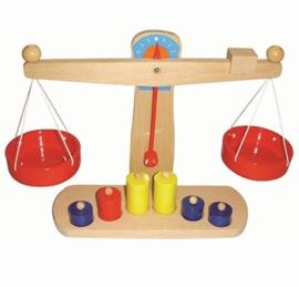 Houten Weegschaal met 6 Gewichten