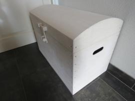 Houten Speelgoedkist, Schatkist, White Wash met Bol Deksel XL Nr. 4