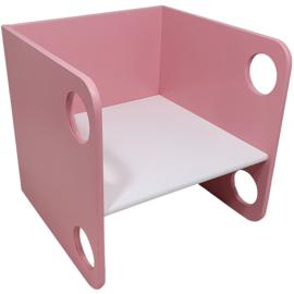 Kubusstoel Roze met Witte Zitting