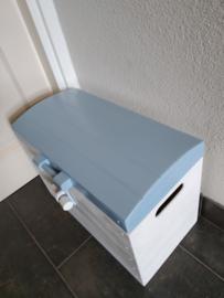 Speelgoedkist, Schatkist Wit/Blauw met Bol Deksel Nr. 2