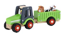 Tractor met Aanhanger Inclusief Boer, Koe en Paard