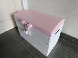 Speelgoedkist, Schatkist, Opbergkist  Wit met Roze nr. 2