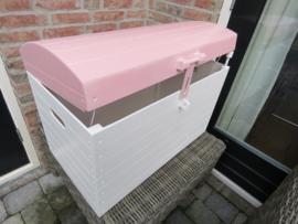 Speelgoedkist Schatkist Wit/Roze met Bol Deksel XL nr. 4