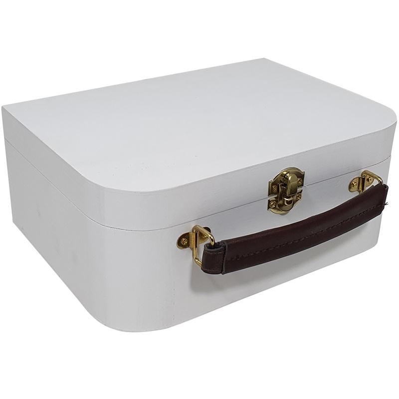 Kist / Koffertje met Leren Handvat Wit 9985