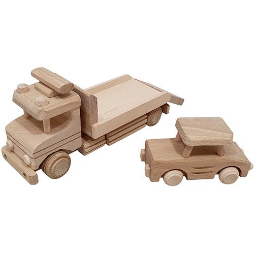 Houten Autotransporter  met Auto