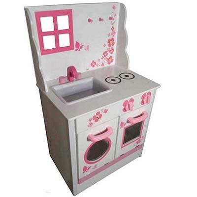 Houten Kinderkeuken Wit - Roze