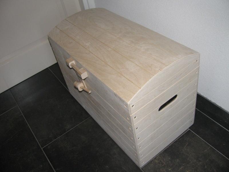 Speelgoedkist, Schatkist, Kist Blank met Bol Deksel L Nr. 3