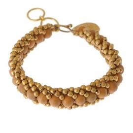 armband - Milipede light brown bracelet