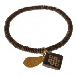 armband - Bone dark brown Buddha charm bracelet