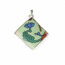 hanger - Lucky Buddha Green tile pendant