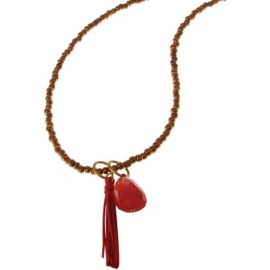 ketting met hanger  - Sunita Red Pom Buddha charm necklace