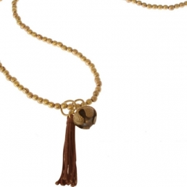 ketting met hanger - Sunita Brown Pom  Buddha charm necklace