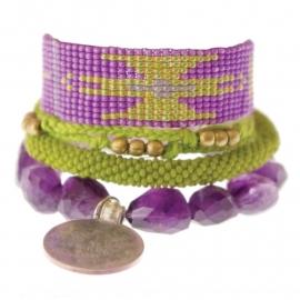 armband - Malinalli purple Aztec bracelet