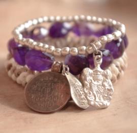 armband - Purple Buddha charm bracelet