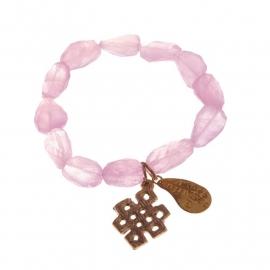 armband - Rosequartz Buddha charm bracelet