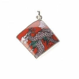 hanger - Lucky Buddha Red tile pendant