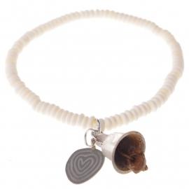 armband - Flat Bone Buddha charm bracelet