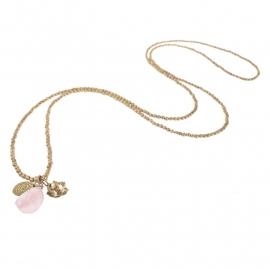 ketting met hanger - Anju Rosequartz Buddha charm necklace