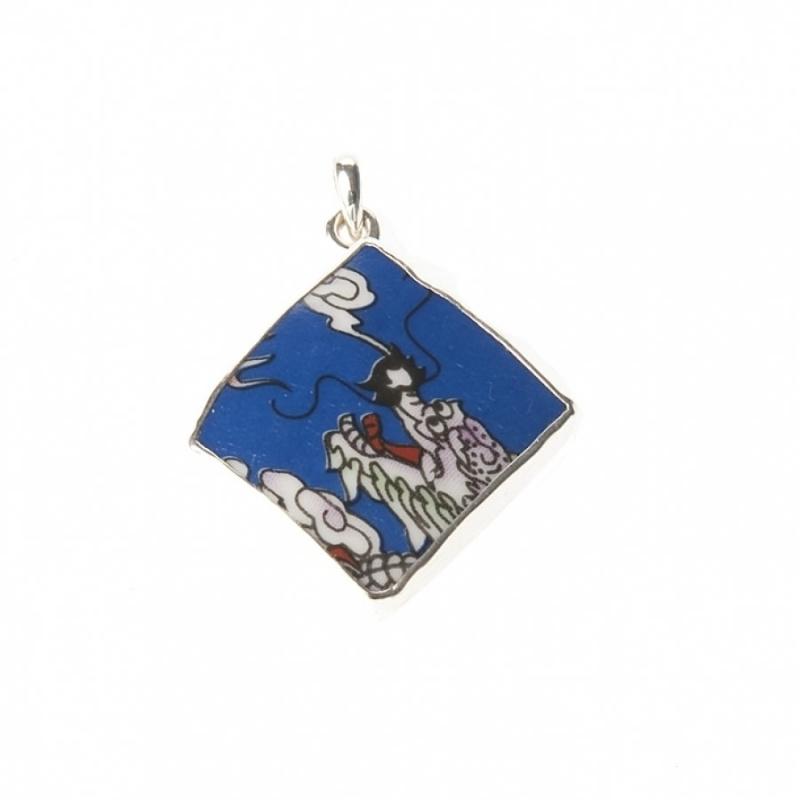 hanger - Lucky Buddha Blue tile pendant