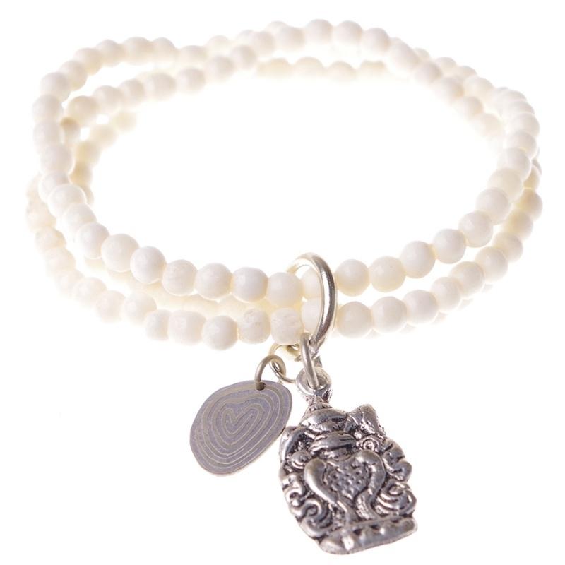 armband - Anju White Buddha charm bracelet