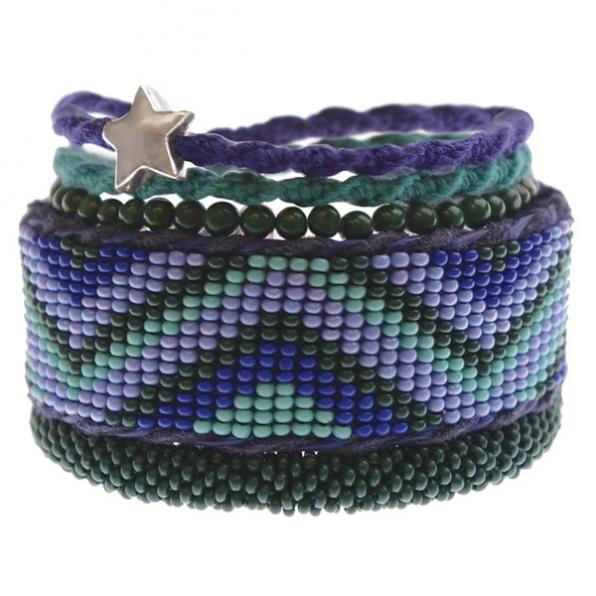 A Beautiful Story armbanden setje blauw-groen