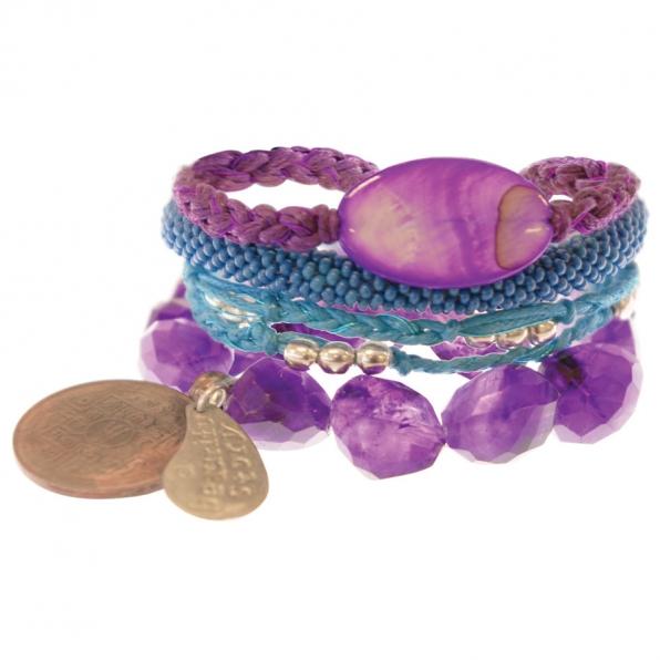 paars setje armbanden uit Nepal A Beautiful Story