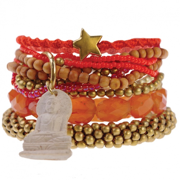 rood naturel armbandenset A Beautiful Story