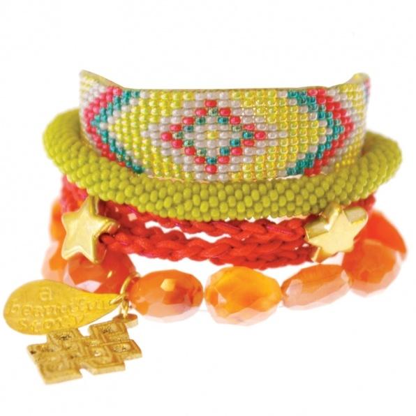 lime Aztec bracelet orange A Beautiful Story